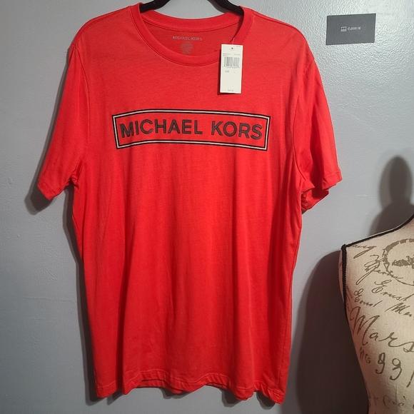 NWT Michael Kors Red/Orange Short Sleeve T SZ L
